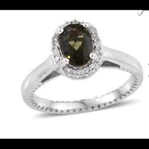 NWT Moldavite & Tourmaline w/ White Zircon Ring!!!